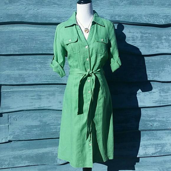 cheaper offer online for sale 🍀Boden🍍 Linen Shirt Dress in Soft Green